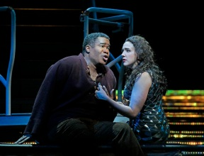 "Eric Owens and Susanna Phillips star in Kaija Saariaho's ""L'Amour de loin"" at the Metropolitan Opera. Photo: Ken Howard"